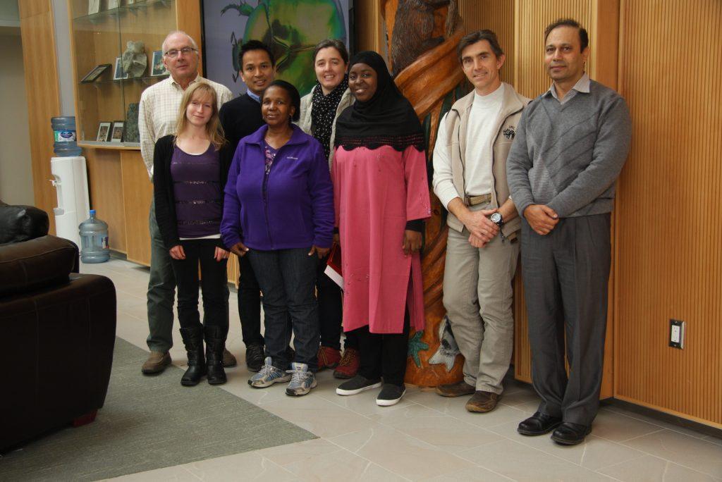 Fall of 2015 RTP participants in the BIO-CBG front foyer. From left to right: Paul Hebert, Emily Berzitis, Charuwat Taekul, Amogelang Segwagwe, Rosina Segui, Jemilat Ibrahim, Alex Borisenko and Muhammad Ashfaq.